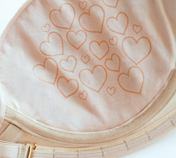 Hearts inside the our bra help maintain your lift and cleavage