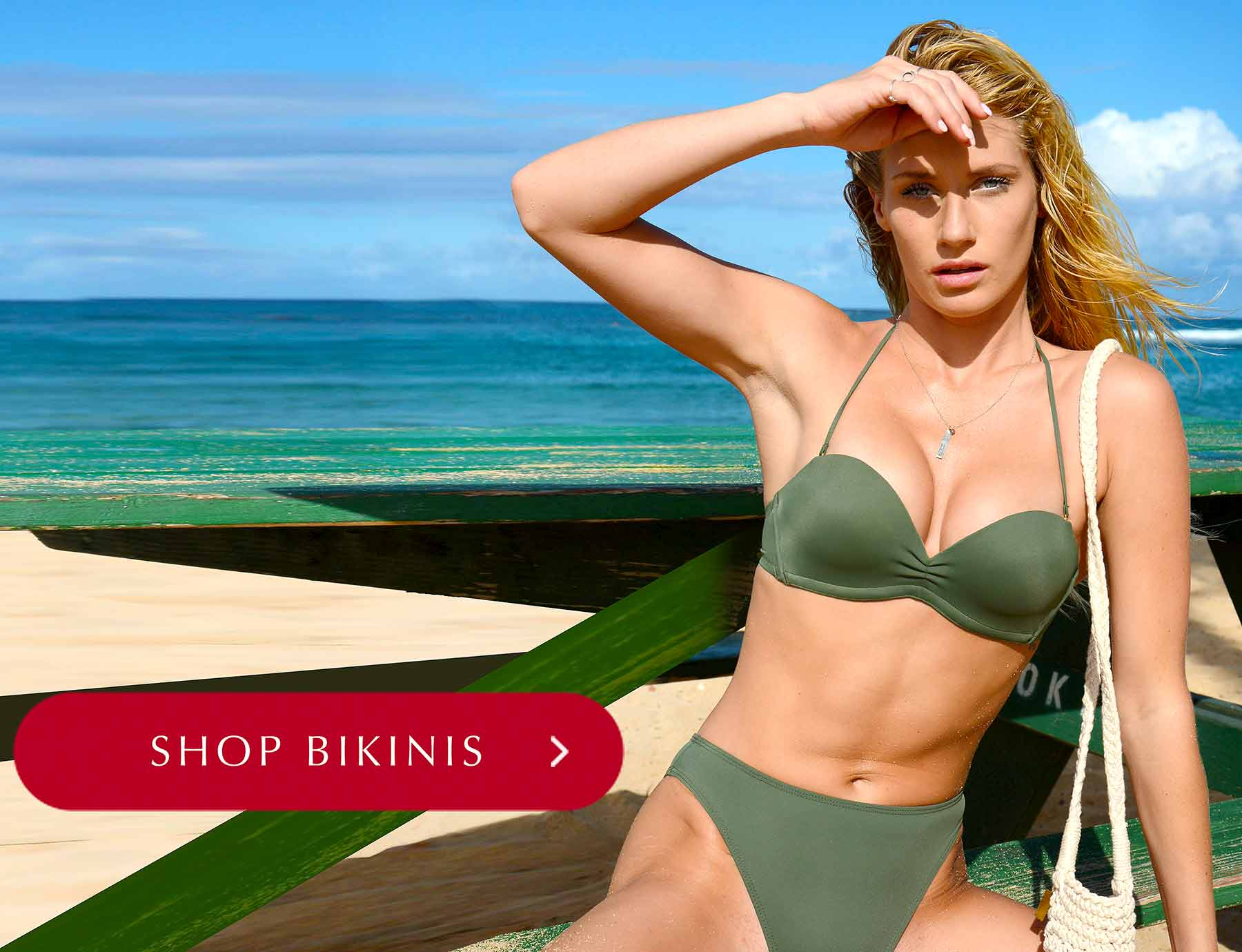 A new type of bikini top. Maximum controllable cleavage and lift from Upbra (olive bikini shown here)
