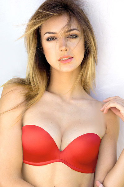 Amazing cleavage from a red Upbra strapless bra